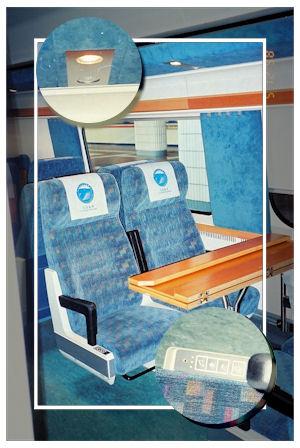 座位設有摺合式桌面、閱讀燈、召喚按鈕及耳筒插口